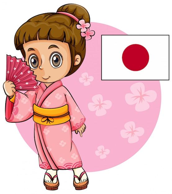 Chica japonesa con kimono rosa y bandera de japón. vector gratuito
