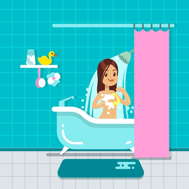 Chica joven en el interior casero del cuarto de baño con ...