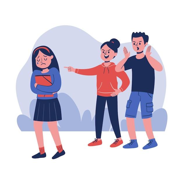 Chica joven siendo intimidada ilustrada Vector Premium