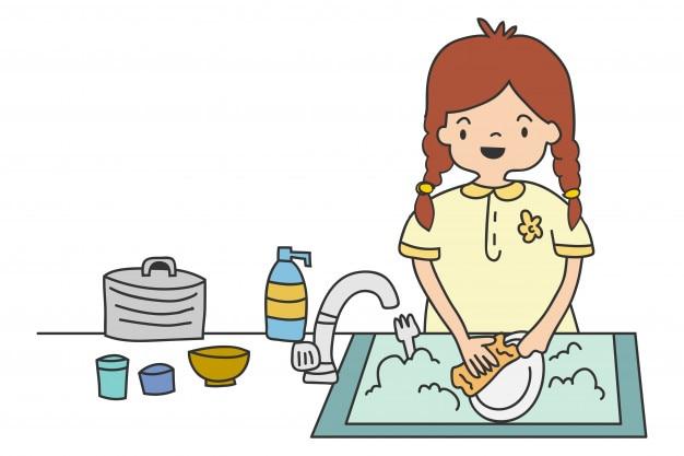 Chica Lavando Platos Ilustración