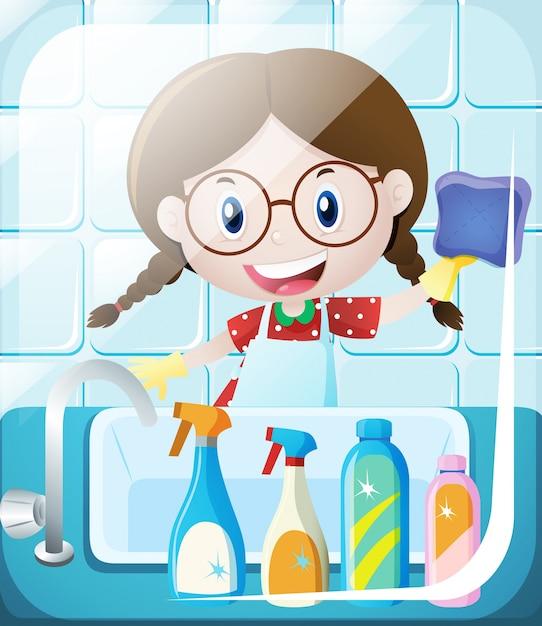 Chica limpiar ba o fregadero descargar vectores premium - Productos para limpiar azulejos bano ...