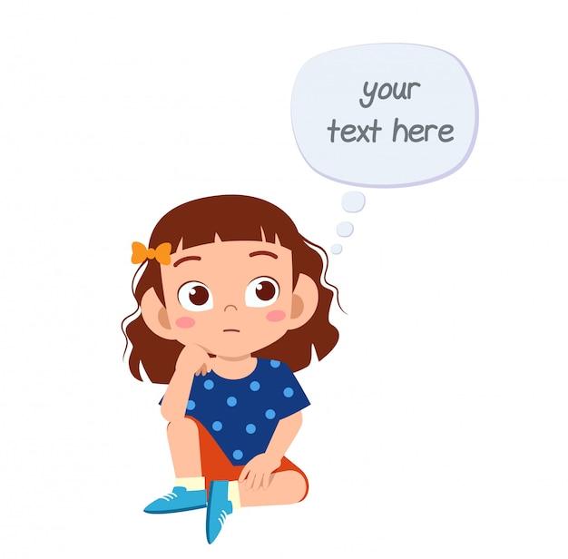 Chica linda niño con mente burbuja en blanco Vector Premium