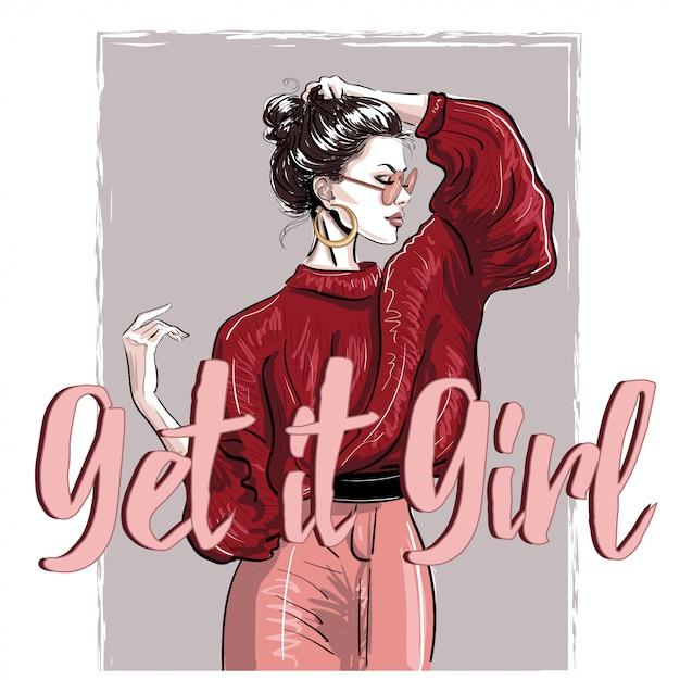 Chica de moda en jersey rojo con letras Vector Premium