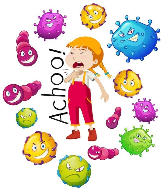 Chica y muchos virus en fondo blanco vector gratuito