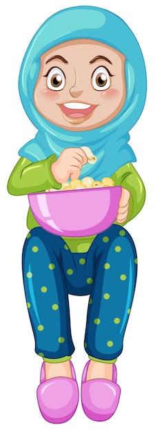 Una chica musulmana comiendo palomitas vector gratuito