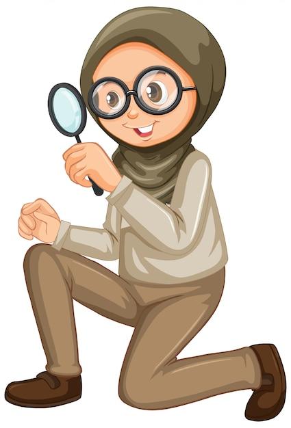 Chica musulmana con lupa en blanco vector gratuito