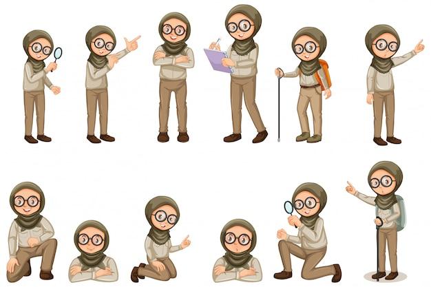 Chica musulmana en uniforme scout haciendo diferentes poses en blanco vector gratuito