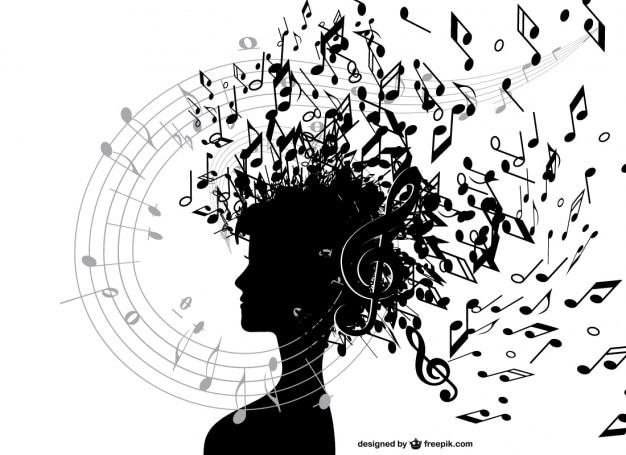 Chica Con Notas Musicales Descargar Vectores Gratis