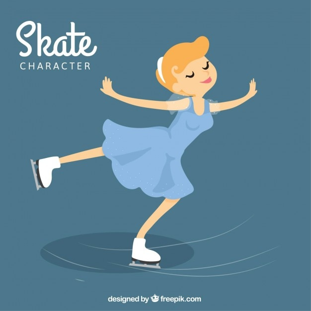 Chica patinando en el hielo vector gratuito