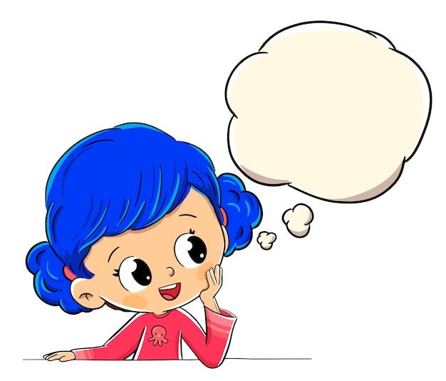 Chica pensando o imaginando con un globo de cómic Vector Premium