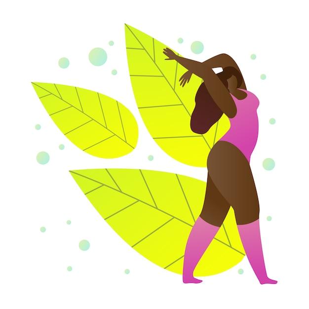 Chica de piel oscura en ropa deportiva Vector Premium