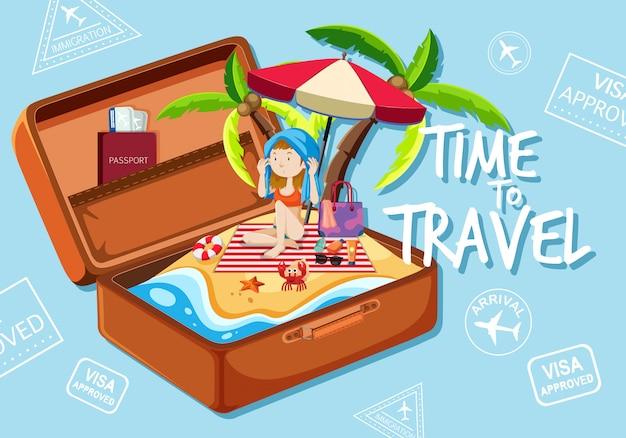 Una chica en la playa en maleta vector gratuito