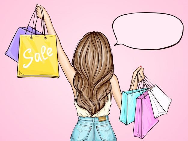 Chica pop art con bolsas de compras vector gratuito