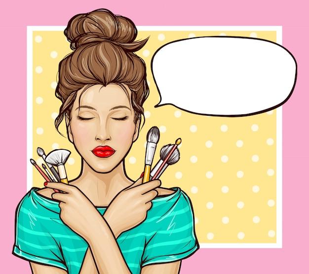 Chica pop art con pinceles de maquillaje en manos vector gratuito
