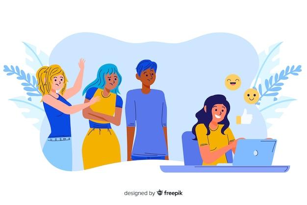 Chica que no presta atención a la ilustración del concepto de sus amigos vector gratuito
