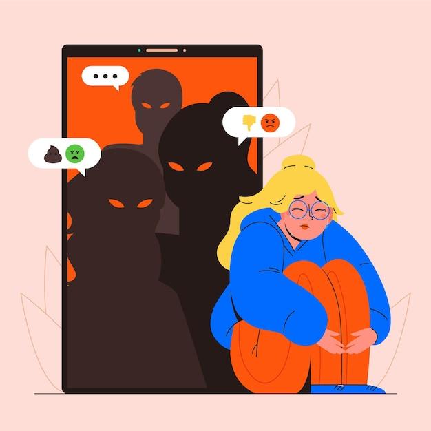Chica siendo intimidada en línea ilustrada vector gratuito