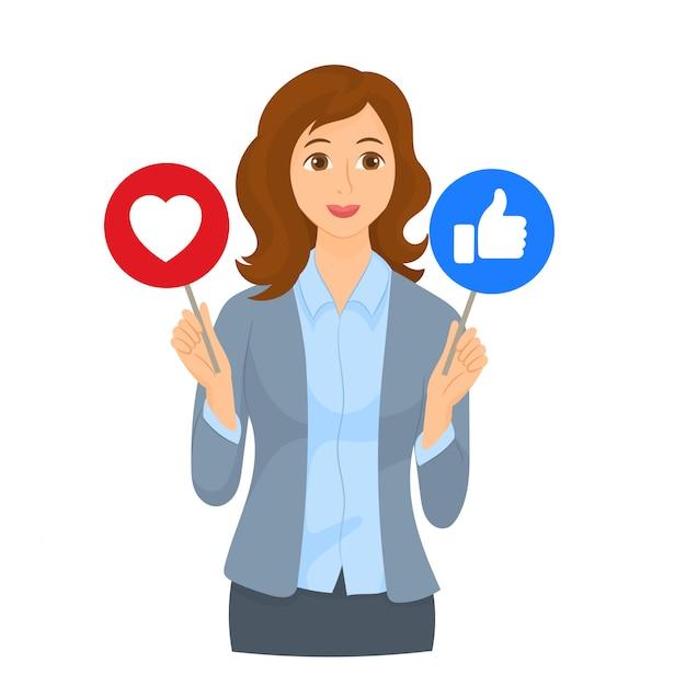 Chica con signos, pulgares arriba e icono del corazón Vector Premium
