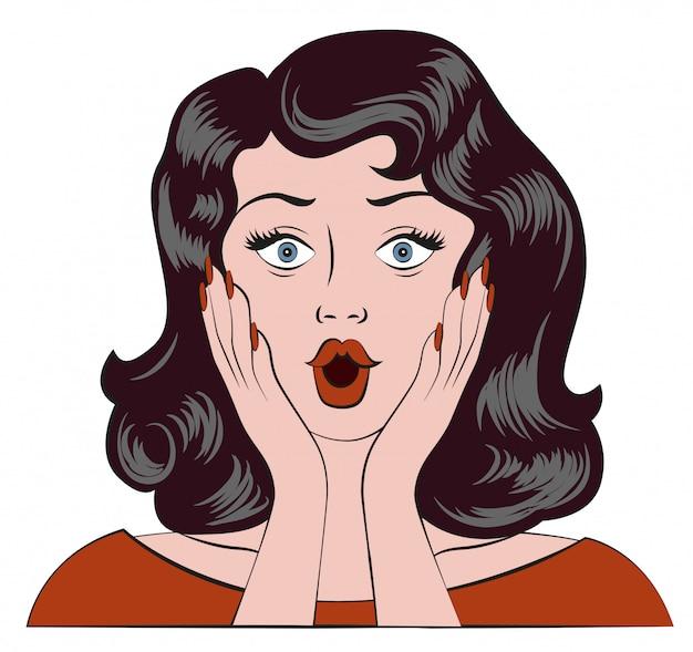 Chica sorprendida, wow emoción, la mujer se sorprendió y se llevó las manos a las mejillas. Vector Premium