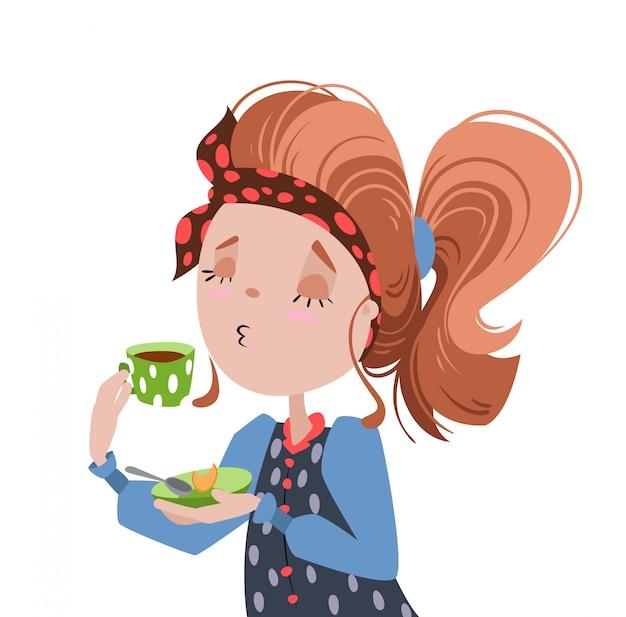 Chica tomando café. Vector Premium
