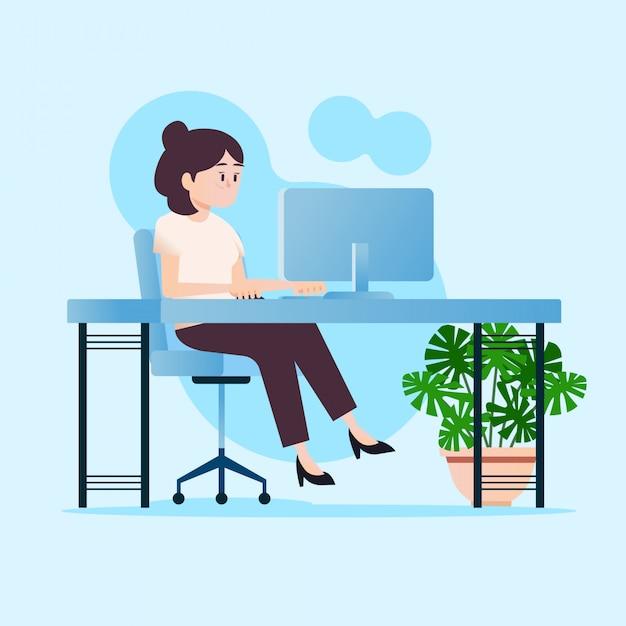 Chica trabajando en computadora Vector Premium