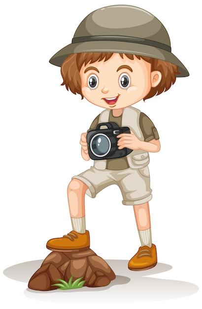 Chica en traje de safari con cámara en blanco vector gratuito