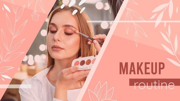 Chica con tutorial de maquillaje miniatura de youtube vector gratuito