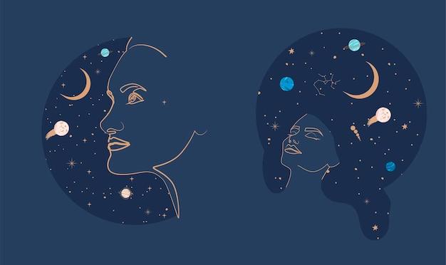 Chica con universo noche estrellada en el pelo Vector Premium