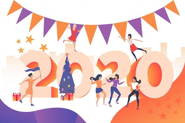 Chicas alegres fiesta de año nuevo 2020 vector gratuito