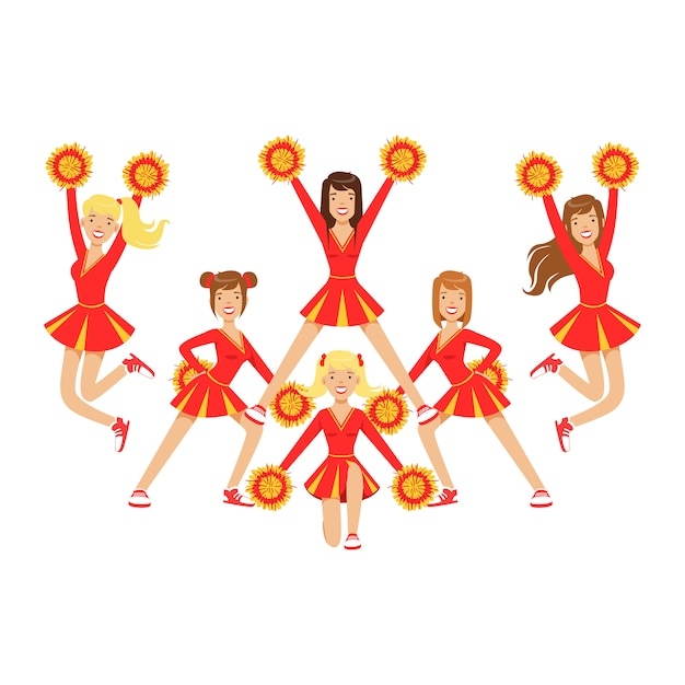Chicas de animadora con pompones bailando para apoyar al equipo de fútbol durante la competencia. . ilustración de personaje de dibujos animados coloridos Vector Premium