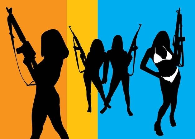 chicas con armas de fuego Vector Gratis