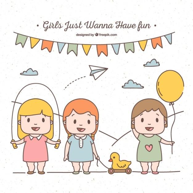Chicas dibujadas a mano divirtiéndose con diferentes juguetes ...