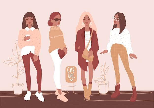 Chicas con estilo en ropa de moda. Vector Premium