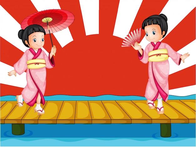 Chicas japonesas vector gratuito