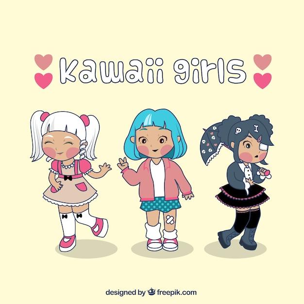 Chicas De Kawaii Vector Gratis