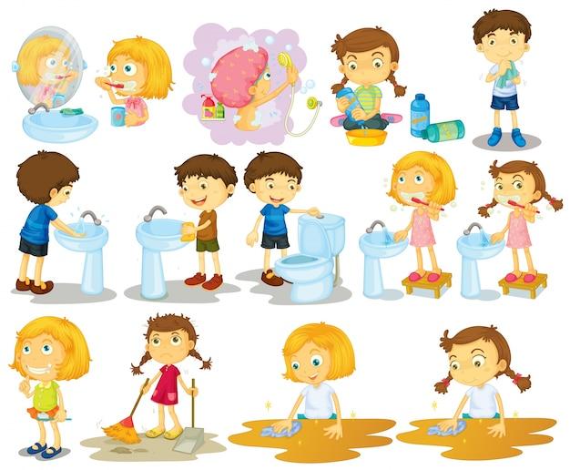 Chicas y niños haciendo tareas de ilustración vector gratuito