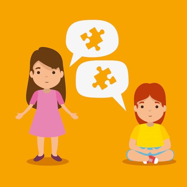 Chicas con rompecabezas dentro de las burbujas de chat para el día del autismo vector gratuito