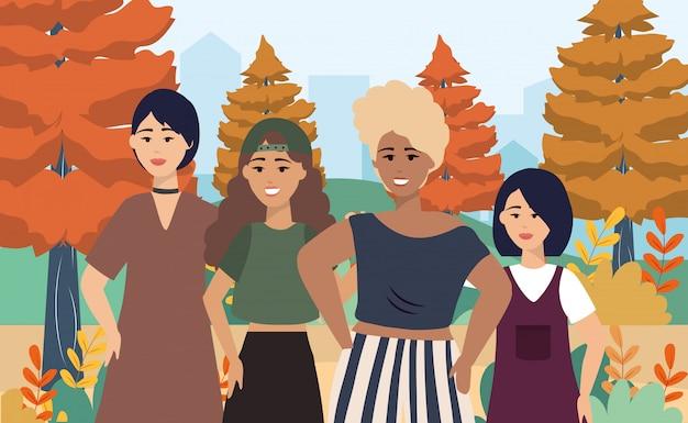 Chicas con ropa casual moderna y peinado. vector gratuito