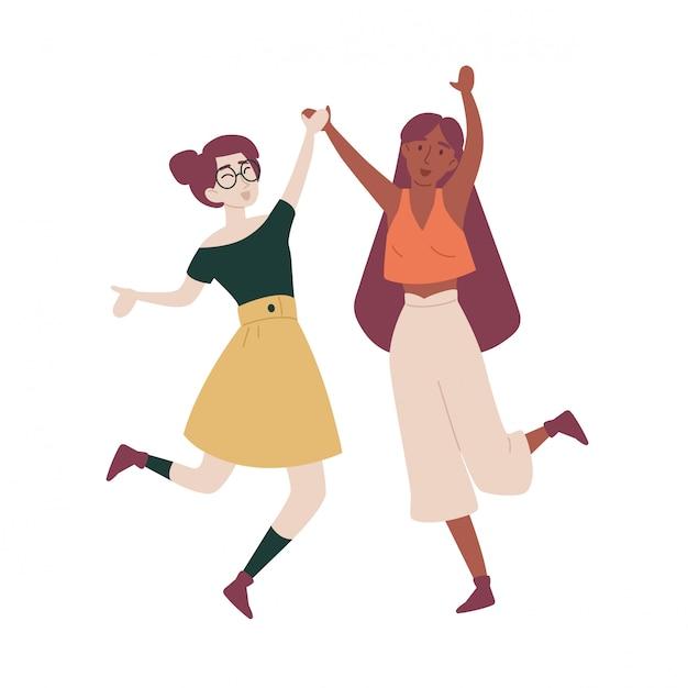 Chicas con sus manos saltando divirtiéndose. Vector Premium