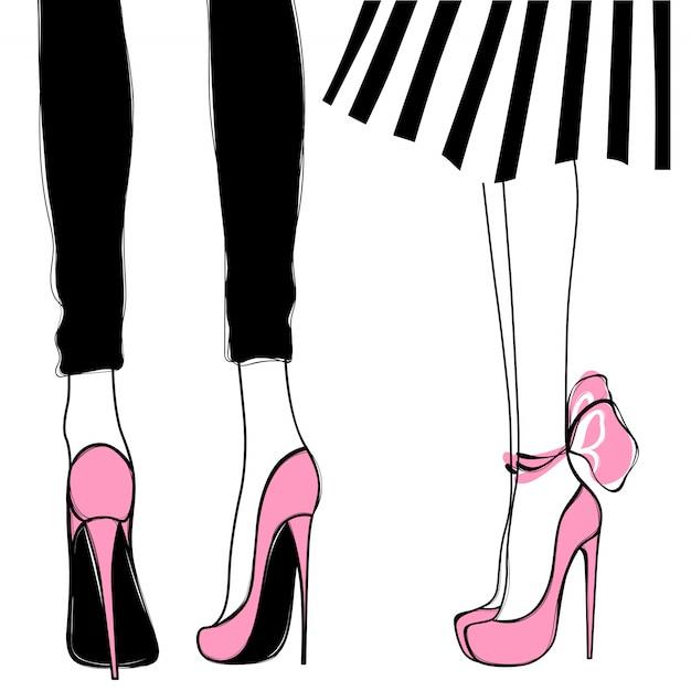 Chicas de vector en tacones altos. ilustración de moda. piernas femeninas Vector Premium