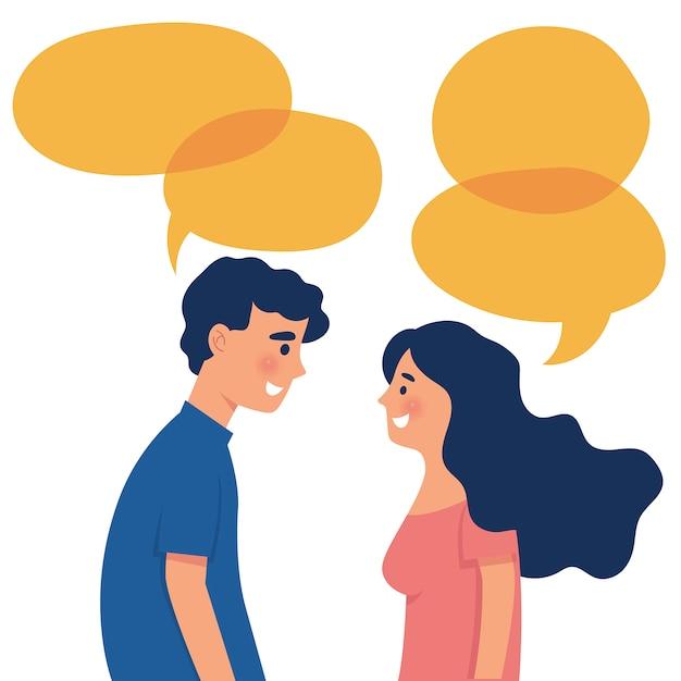 Chico y chica como pareja conversan entre sí con palabras de burbujas Vector Premium