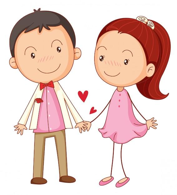 Chico y una chica enamorada vector gratuito