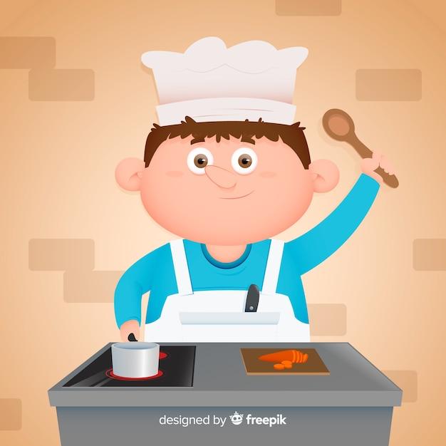 Chico cocinando en la cocina vector gratuito