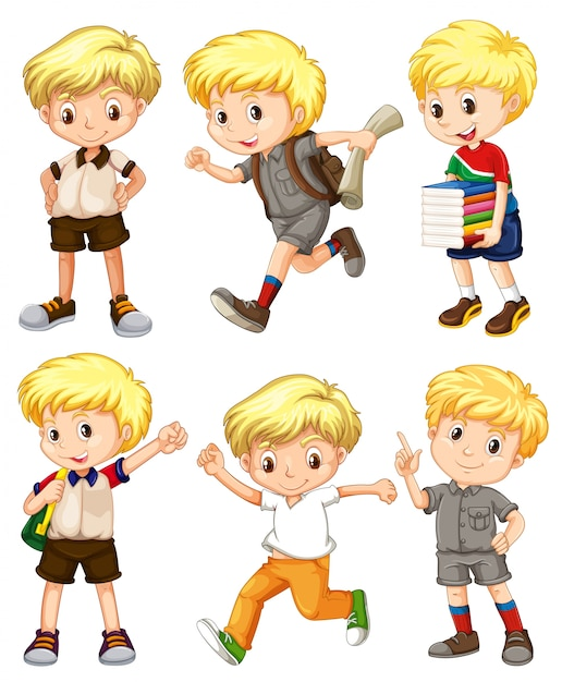 Chico con pelo rubio en diferentes acciones ilustración | Descargar ...