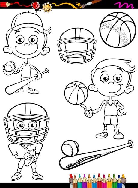 Chico deportivo set dibujos para colorear | Descargar Vectores Premium