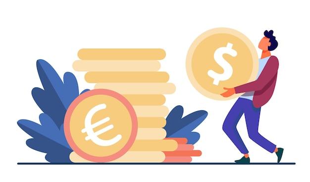 Chico diminuto que lleva una enorme moneda de oro. dólar, efectivo, dinero ilustración vectorial plana. finanzas y banca vector gratuito