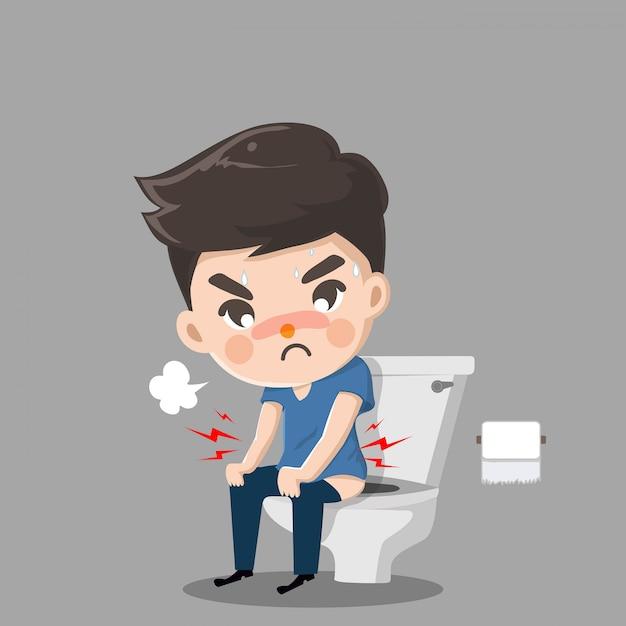 Chico es dolor de estómago y necesidad de caca. él está sentado, lavando el inodoro correctamente. Vector Premium