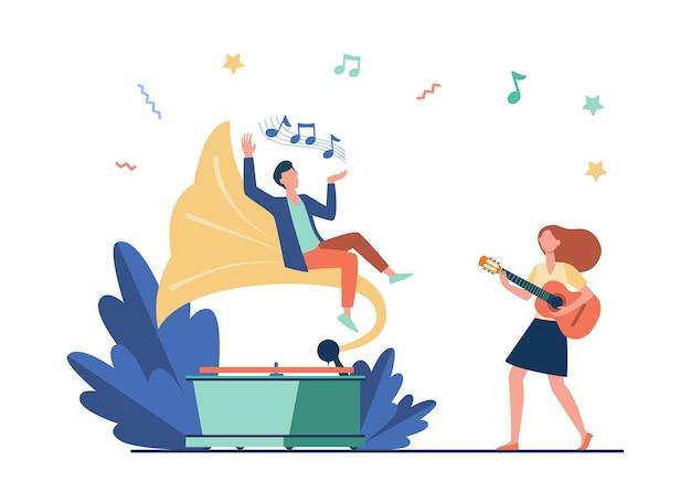 Chico escuchando música en un gramófono retro. chica tocando la guitarra y cantando ilustración vectorial plana. entretenimiento, interpretación, concepto de ocio. vector gratuito