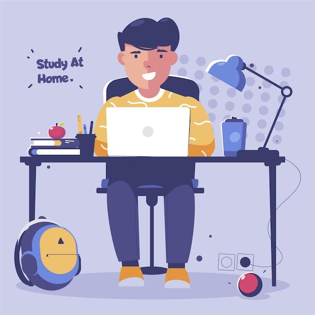 Chico estudiando en línea vector gratuito