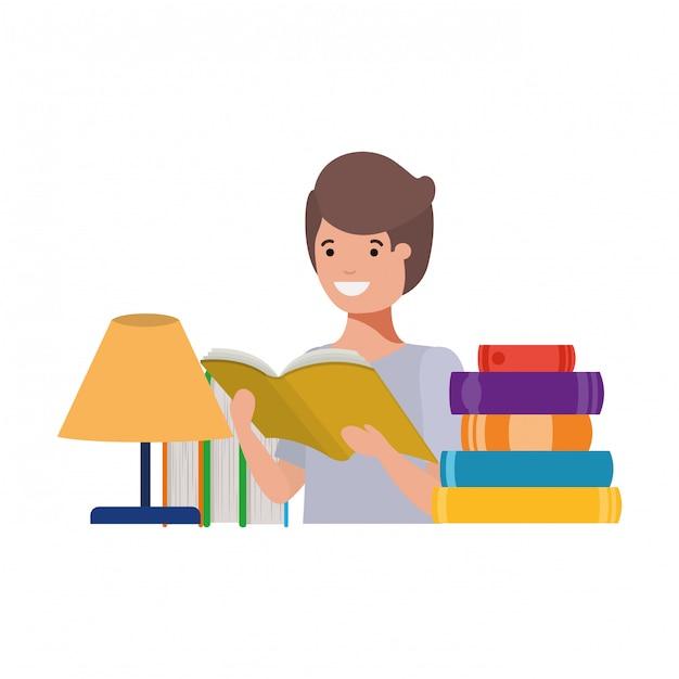 Chico estudiante con libro de lectura en las manos vector gratuito