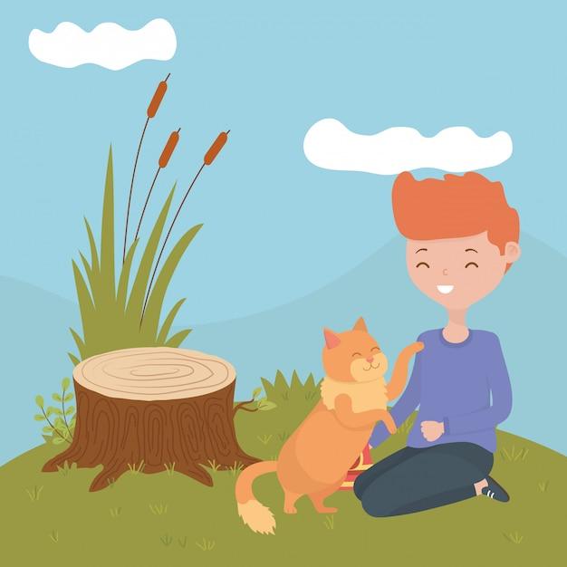 Chico con gato de dibujos animados vector gratuito